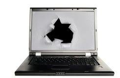 PC Screen hole Stock Image