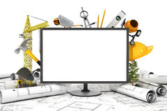 The PC screen with object for construction. Royalty Free Stock Photo