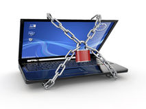 Pc security. Laptop with chain and lock Stock Photography