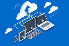 Pc software upload of user data. To cloud storage on remote device. Isometric clipart, sticker or icon for web banner, infographics, hero images. Flat isometric Royalty Free Stock Image