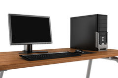 Pc on table isolated on white background Stock Photos