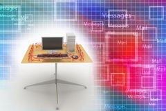 Pc on a table surrounded by messages Illustration Stock Image