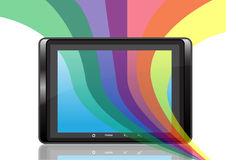 PC tablet. Digital PC tablet, reflexion and abstract colour strips Stock Photos