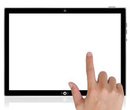 PC tablet computer and hand pushing a button. Royalty Free Stock Photography