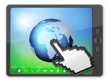 PC tablet cursor and globe Royalty Free Stock Image