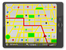 PC tablet with navigation map stock photography