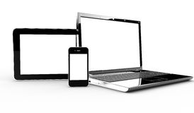 Pc, tablet and phone. Isolated on a white background Stock Photography