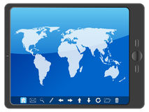 PC tablet with world map Stock Photos