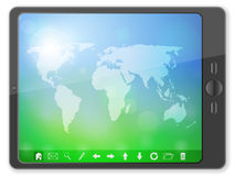 PC tablet with world map Stock Image