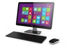 PC, tastiera e topo della casa di Monoblock Fotografia Stock