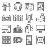 PC Teile Jede Ikone ist eine einzelne Nachricht (Verbundpfad) Motherboard, CPU, Festplatte, Tastatur und mehr stock abbildung