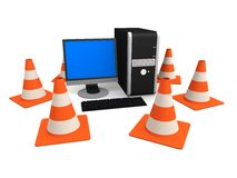 Pc and traffic cones. 3d rendered illustration of a personal computer and traffic cones Stock Photography