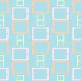 PC van de Lightcolorstablet op een blauwe achtergrond Naadloos patroon stock foto