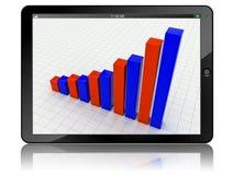 PC van de tablet met bedrijfsgrafiek Stock Foto's