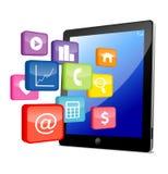 PC van de tablet met toepassingspictogrammen Royalty-vrije Stock Fotografie