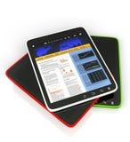 PC van de tablet op een witte mobiele achtergrond, Stock Afbeeldingen