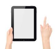 PC van de Tablet van de holding met het Raken van Geïsoleerdei Hand Royalty-vrije Stock Foto's