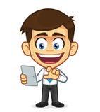 PC van de Tablet van de Holding van de zakenman stock illustratie