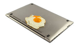 PC is a very hot and can hardly be fried eggs. Royalty Free Stock Photography