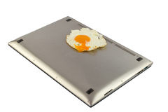 PC is a very hot and can hardly be fried eggs. Royalty Free Stock Image