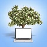 Pc vuoto nero dello schermo con l'albero dei soldi sul fondo 3d di pendenza Immagini Stock