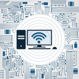 PC, wifi and electronics circuit. Electronics circuit background with a PC with wireless connection Stock Photos