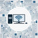 PC, wifi and electronics circuit Stock Photos