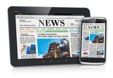 PC y smartphone de la tablilla con noticias de asunto ilustración del vector