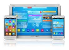 PC y smartphones de la tablilla Fotografía de archivo