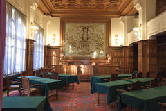 PCA, Early morning session, The Hague, Netherlands. Courtroom of the Permanent Court of Arbitration inside the Peace Palace in which the sentences are read as Stock Photo