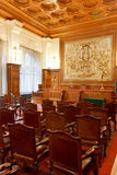 PCA - Permanent Court of Arbitration. Courtroom of the Permanent Court of Arbitration inside the Peace Palace in which the sentences are read as final decision Royalty Free Stock Photos