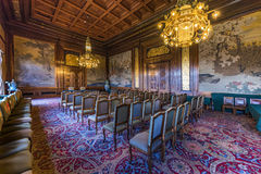 PCA, Permanent Court of Arbitration court room. Courtroom of the Permanent Court of Arbitration inside the Peace Palace in which the sentences are read as final Stock Photography