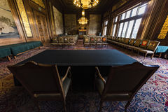 PCA, Permanent Court of Arbitration court room. Courtroom of the Permanent Court of Arbitration inside the Peace Palace in which the sentences are read as final Stock Photos