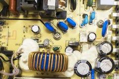 PCB晶体管和电容器 免版税库存照片