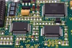 PCB. Printed circuit board with microprocessors and other components Royalty Free Stock Image
