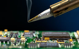 PCB. Solder and electronic circuit board stock image
