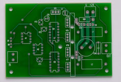 PCB. The pcb, component side, unassembled Stock Image
