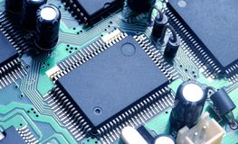 PCB board. With electronic components Royalty Free Stock Photo