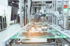 PCB board on conveyor line. PCB board on conveyor line of electronic industry royalty free stock image
