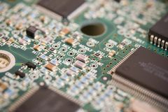 PCB board with small devices Royalty Free Stock Images