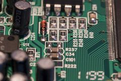 PCB board with small devices stock images