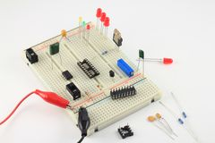PCB Breadboard test circuit under construction. Solderless PCB Breadboard test circuit under construction Stock Photos