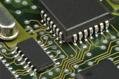 PCB with chip Royalty Free Stock Photography