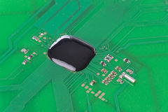 PCB with chip on board close up Stock Photos