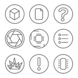 PCB development icons set. Microcircuit, documentation, testing, and photo line icons royalty free stock photo