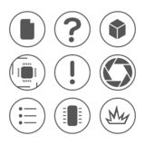 PCB development icons set. Microcircuit, documentation, testing, and photo outline icons royalty free stock images