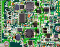 PCB with electronic components Royalty Free Stock Photo