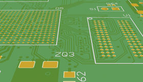 PCB green without elements. Chip suite. Royalty Free Stock Photos