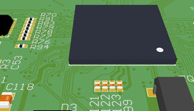 PCB green with elements. Chip suite. Stock Images