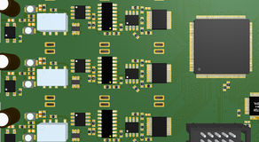 PCB green with resistors, capacitors, connectors and chip Royalty Free Stock Image